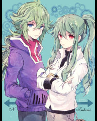1boy 1girl blue_eyes crossover green_hair kagerou_project kido_tsubomi kido_tsubomi_(cosplay) long_hair n_(pokemon) n_(pokemon)_(cosplay) pokemon pokemon_(game) pokemon_bw ponytail red_eyes torute