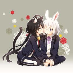 2boys ahoge animal_ears bell black_hair bunny_ears cat_ears cat_tail deretta face_licking honebami_toushirou indian_style kemonomimi_mode licking male_focus multiple_boys namazuo_toushirou one_eye_closed ponytail purple_eyes seiza sitting tail tongue tongue_out touken_ranbu white_hair