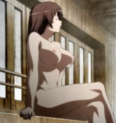 1girl breasts eyes_closed highres hyakka_ryouran_samurai_girls large_breasts nude sitting solo stitched tokugawa_sen