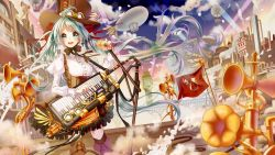 1girl :d aircraft black_hair blimp blush boots bow brown_boots brown_hat building butakimuchi clock clock_tower cloud dirigible dutch_angle green_eyes green_hair hair_bow hat hatsune_miku holding_microphone instrument juliet_sleeves keyboard_(instrument) long_hair long_sleeves microphone open_mouth outdoors puffy_sleeves purple_boots red_bow shirt smile smoke smokestack solo spotlight standing thighhighs top_hat tower twintails very_long_hair vocaloid white_shirt
