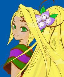 blonde_hair child flower green_eyes hair_ornament kid_icarus kid_icarus_uprising long_hair nachure_(kid_icarus) nintendo ponytail smile viridi