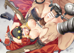 1boy 1girl ahegao armor arms_up bdsm blonde_hair blush bondage bound bound_wrists breasts brown_legwear censored chains commentary_request cum cum_in_pussy cum_on_body cum_on_breasts cum_on_upper_body fucked_silly haneru hetero hood long_hair midriff navel nipples no_panties odin_sphere open_mouth penis puffy_short_sleeves puffy_sleeves purple_eyes pussy rape restrained rolling_eyes sex short_sleeves skirt solo_focus spread_legs striped striped_legwear sweat tears thighhighs tongue tongue_out top-down_bottom-up torn_clothes torn_thighhighs vaginal velvet_(odin_sphere)