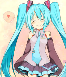1girl ^_^ blue_hair blush colored detached_sleeves eyes_closed hatsune_miku headset heart long_hair necktie q_(aoba0906) skirt smile solo twintails very_long_hair vocaloid