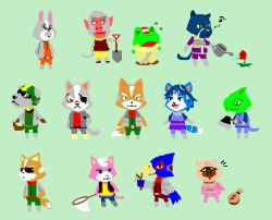 2girls 6+boys andrew_oikonny bill_grey blue_hair bodysuit boots crossover doubutsu_no_mori falco_lombardi flower fox_mccloud furry gem gloves group hair_ornament helmet jacket james_mccloud jewelry katt_monroe krystal leon_powalski multiple_boys multiple_girls net nintendo panther_caroso parody peppy_hare pigma_dengar plant short_hair slippy_toad star_fox sunglasses wolf_o'donnell
