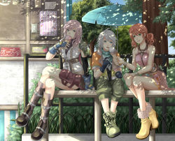 1boy 2girls blue_eyes final_fantasy final_fantasy_xiii fingerless_gloves gloves green_eyes hope_estheim lightning_farron multiple_girls oerba_dia_vanille pink_hair sitting slapmyface tongue white_hair