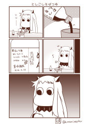 (o)_(o) bottle comic commentary eating food highres horns kantai_collection monochrome moomin moomintroll noodles northern_ocean_hime northern_ocean_hime_(cosplay) sauce sazanami_konami shinkaisei-kan soba translation_request twitter_username