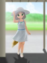1girl blush child fox_tail green_eyes grey_hair hat looking_at_viewer oka_takeshi short_hair sky smile solo sundress