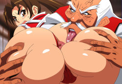 anus ass ass_grab blush brown_hair fatal_fury jyubei king_of_fighters licking muchiken old_man shiranui_mai snk uncensored