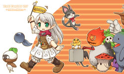 1girl broken_egg character_request copyright_name demon_tail final_fantasy final_fantasy_xiv green_eyes lalafell long_hair mizuno_mumomo monster mushroom pointy_ears pouch scarf silver_hair smile square_enix tail wings