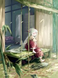 1girl architecture arm_garter bamboo bamboo_broom bamboo_forest barefoot bow broom bucket commentary_request drawer east_asian_architecture eyes_closed floral_print forest fujiwara_no_mokou hair_bow highres juliet_sleeves knee_up long_hair long_sleeves mirror mokoiscat nature ofuda_on_clothes pants porch puffy_sleeves red_pants signature sitting solo tan_shirt tatami touhou very_long_hair white_bow white_hair