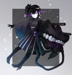 1girl :o ancient_destroyer_oni black_gloves black_hair black_legwear blue_eyes boots cannon drill_hair gloves glowing glowing_eyes hakama high_heel_boots high_heels highres japanese_clothes kantai_collection kimono long_hair machinery open_mouth petals shinkaisei-kan side_ponytail skirt solo teeth turret weasel_(close-to-the-edge) wide_sleeves