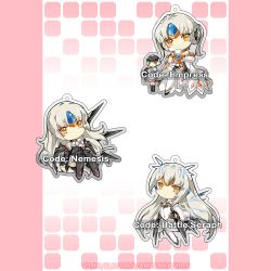 4girls android braid chibi code:_battle_seraph_(elsword) code:_empress_(elsword) code:_nemesis_(elsword) cup dress drone elsword eve_(elsword) expressionless french_braid legs_crossed long_hair maid multiple_girls multiple_persona ophelia_(elsword) saucer teacup thighhighs tiara vilor white_hair yellow_eyes
