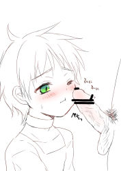 1boy 1girl age_difference avenger avenger_(anime) blush censored embarrassed green_eye loli nei nei_(avenger) one_eye penis shame short_hair