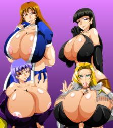 artist_kaiman blonde_hair blue_eyes breasts dead_or_alive gigantic_breasts huge_breasts large_breasts lei_fang multiple_girls tight tina_armstrong
