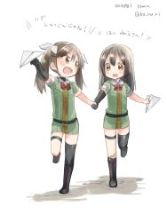2girls asymmetrical_legwear black_hair bow brown_eyes brown_hair chikuma_(kantai_collection) dress green_dress hand_holding kantai_collection ko_ru_ri long_hair multiple_girls open_mouth paper_airplane smile tone_(kantai_collection) translation_request twintails