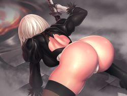1girl arm_support ass back_opening black_boots black_dress black_gloves blindfold boots breasts brown_legwear dress feather-trimmed_sleeves from_behind gloves high_heels holding holding_sword holding_weapon juliet_sleeves katana kneeling legs_apart leotard long_sleeves medium_breasts mo-frederick nier_(series) nier_automata open-back_dress puffy_sleeves short_hair shoulder_blades silver_hair solo sword thighhighs thong thong_leotard turtleneck vambraces weapon white_leotard yorha_no._2_type_b
