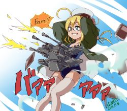 1girl 2015 4suke ahoge aqua_eyes arms_behind_head artist_name bangs blonde_hair commentary_request dated firing german glasses grin gun hair_ribbon hat i-8_(kantai_collection) jacket jojo_no_kimyou_na_bouken jojo_pose kantai_collection long_hair long_sleeves low_twintails machine_gun one-piece_swimsuit parody ribbon rudolph_von_stroheim sailor_hat school_swimsuit smile solo swimsuit thighhighs trait_connection twintails weapon white_legwear white_ribbon zettai_ryouiki