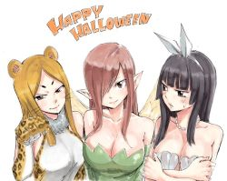 3girls alternate_hair_color animal_costume bare_shoulders black_hair blush breasts brown_eyes claws cleavage collarbone costume crossed_arms dress elbow_gloves erza_scarlet fairy fairy_tail fairy_wings fur_collar gloves hair_over_one_eye hair_ribbon hairband halloween happy_halloween hime_cut jewelry kagura_mikazuchi large_breasts leopard_ears leopard_print lips long_hair looking_at_viewer mashima_hiro minerva_orlando multiple_girls necklace parted_lips paw_gloves paw_pose pearl_necklace pointy_ears red_hair ribbon seashell_bra shiny shiny_clothes shiny_hair smile sweatdrop upper_body whiskers wings