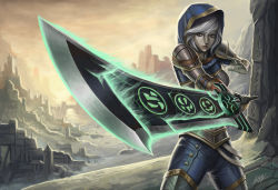 1girl armor breasts brown_eyes cowboy_shot fighting_stance foreshortening glowing glowing_sword glowing_weapon hood league_of_legends parted_lips penator riven_(league_of_legends) ruins shoulder_pads signature silver_hair solo thighhighs weapon