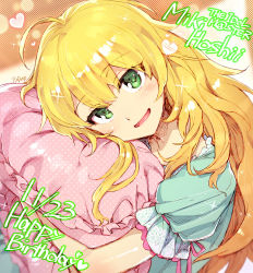 1girl :d ahoge birthday blonde_hair blush character_name copyright_name dated english green_eyes happy_birthday heart hoshii_miki idolmaster lace long_hair looking_at_viewer open_mouth pajamas pillow pillow_hug polka_dot redrop revision shiny shiny_skin signature smile solo