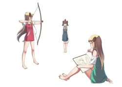 3girls animal_ears apple_on_head arms_at_sides arrow barefoot blonde_hair blush blush_stickers bow bow_(weapon) brown_hair cigar closed_mouth commentary_request dog_ears dog_tail drawing_bow eyebrows full_body green_shirt gun hat head_tilt high-waist_skirt holding holding_pencil legs_apart long_hair long_sleeves mouth_hold multiple_girls off-shoulder_shirt original pencil profile raglan_sleeves red_shirt rifle shirt sideways_mouth simple_background sketchbook sniper_rifle standing sunglasses tail thick_eyebrows u_(mikaduki0720) very_long_hair weapon white_background white_shirt |_|