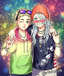 2boys beanie blonde_hair blue_eyes christophe_giacometti green_eyes grin hat hood hoodie jewelry long_hair male_focus multiple_boys necklace one_eye_closed ring silver_hair smile sunglasses sunglasses_on_head teenage twitter_username v viktor_nikiforov whitemop_jog younger yuri!!!_on_ice