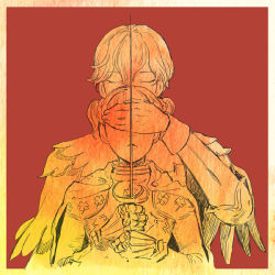 1boy 1girl armor berserk cape covering_eyes eyes_closed farnese gauntlets monochrome nobicco rapier red_background serpico sword weapon