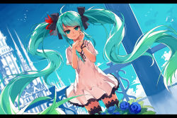 1girl ahoge aqua_eyes aqua_hair baisi_shaonian blue_rose bracelet dress dutch_angle floating_hair flower hatsune_miku highres jewelry letterboxed long_hair rose smile solo thighhighs twintails very_long_hair vocaloid world_is_mine_(vocaloid)