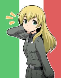 1girl anzio_military_uniform bangs belt black_shirt blonde_hair carpaccio commentary_request flag_background girls_und_panzer green_eyes hair_over_shoulder hand_in_hair hand_up haniwa_(leaf_garden) highres italian_flag jacket long_hair long_sleeves looking_at_viewer military military_uniform shirt sidelocks solo surprised uniform upper_body