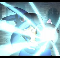 aura_sphere blue_fur glowing lowres lucario pokemon pokemon_(creature) pokemon_(game) red_eyes spikes yellow_fur