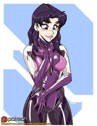 1girl bangs blush bodysuit breasts brown_eyes commanderrab earrings evangelion_3.0 katsuragi_misato large_breasts latex latex_suit lip_bite long_hair neon_genesis_evangelion patreon plugsuit purple_hair rabidgundam skin_tight solo