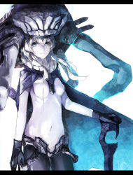 1girl black_gloves blue_eyes bodysuit cane cape covered_navel gloves headgear kantai_collection letterboxed long_hair looking_at_viewer pale_skin shinkaisei-kan silver_hair simple_background solo tentacle white_background wo-class_aircraft_carrier yuuichi_(4561643)