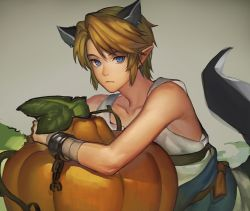 1boy animal_ears bangs bare_shoulders blonde_hair blue_eyes chains collarbone cuffs earrings elf extra_ears frown halloween jewelry link looking_at_viewer male mimme_(haenakk7) pointy_ears pumpkin shackles sleeveless sleeveless_shirt solo swept_bangs tail the_legend_of_zelda twilight_princess