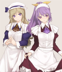 2girls alternate_costume blonde_hair bow enmaided hair_bow hat long_hair maid maid_headdress multiple_girls ponytail purple_eyes purple_hair rokuwata_tomoe simple_background skirt skirt_lift standing touhou watatsuki_no_toyohime watatsuki_no_yorihime