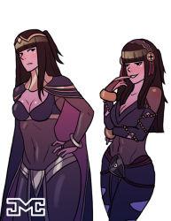 2girls black_hair breasts cleavage fire_emblem fire_emblem:_kakusei fire_emblem_if jewelry multiple_girls skin_tight syalla_(fire_emblem_if) tagme tharja