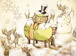 artist_name bench brain fork frog ice_cream_cone mouse no_humans original outdoors parallela66 snow snowflake tongue top_hat