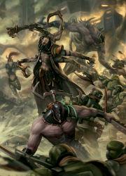 battle blood claws dark_eldar gun haemonculus helmet highres imperial_guard military military_uniform multiple_boys okita ponytail rifle soldiers uniform warhammer_40k weapon
