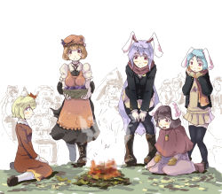6+girls adapted_costume aki_minoriko aki_shizuha animal_ears apron basket bent_over black_legwear blazer boots brown_hair bucket bunny_ears campfire capelet carrot carrying crowd female food fruit grapes hair_ornament heiya in_bucket in_container inaba_tewi jacket jewelry karakasa_obake kawashiro_nitori kiss long_hair long_sleeves mittens mob_cap multiple_girls necklace pendant puffy_short_sleeves puffy_sleeves purple_hair red_eyes reisen reisen_udongein_inaba scarf shirt short_sleeves siblings silver_hair sisters sitting skirt skirt_set smile sweet_potato tatara_kogasa thighhighs touhou umbrella very_long_hair wariza winter_clothes