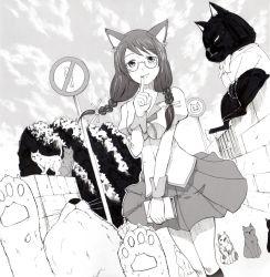 1girl animal_ears braid cat cat_ears glasses hanekawa_tsubasa highres long_hair monochrome monogatari_(series) school_uniform solo