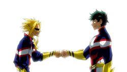 2boys all_might blonde_hair boku_no_hero_academia fist_bump green_hair midoriya_izuku muscles superhero toshinori