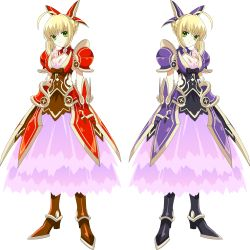 2girls absurdres alternate_color cosplay date_a_live fate/extra fate_(series) full_body highres multiple_girls saber_extra vector_trace yatogami_tooka yatogami_tooka_(cosplay)