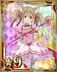 1girl animal_ears argyle argyle_background blue_ribbon brown_hair card_(medium) cat_ears cat_tail dress hair_ornament hair_ribbon heart_hair_ornament holding looking_at_viewer magical_girl number pink_dress red_eyes red_ribbon ribbon short_hair silica silica_(sao-alo) smile solo staff star striped striped_legwear sword_art_online tail thighhighs white_feathers