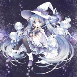 1girl blue_eyes blue_hair cape fingerless_gloves gloves hair_ribbon hat hatsune_miku highres kagamine_len kagamine_rin kaito long_hair megurine_luka meiko niwako open_mouth pantyhose ribbon skirt snowflakes solo twintails very_long_hair vocaloid wand witch_hat yuki_miku