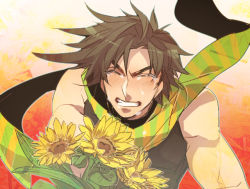 1boy brown_hair chikusawa flower jojo_no_kimyou_na_bouken joseph_joestar_(young) midriff solo sunflower tears