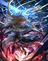 blonde_hair blue_eyes capelet electricity fingerless_gloves gloves glowing guilty_gear guilty_gear_xrd hair_down heterochromia ky_kiske oro_(sumakaita) sword uniform weapon