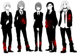 5girls bangs blazer boots darjeeling dress_shirt formal full_body gensokigou girls_und_panzer hands_in_pockets hat holding jacket kay_(girls_und_panzer) looking_at_viewer mika_(girls_und_panzer) monochrome multiple_girls necktie nishi_kinuyo nishizumi_maho open_clothes open_jacket pants shirt spot_color suit untucked_shirt