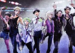 6+boys arm_around_shoulder black_hair blonde_hair blue_eyes brown_eyes cellphone christophe_giacometti cross cross_necklace denim denim_shorts eyes_closed green_eyes hair_over_one_eye head_wreath ice_skates jacket jean-jacques_leroy jewelry katsuki_yuuri kubo_mitsurou leather leather_jacket male_focus multiple_boys necklace official_art open_mouth otabek_altin phichit_chulanont phone ribbon self_shot shorts silver_hair skates smartphone smile tank_top viktor_nikiforov yuri!!!_on_ice yuri_plisetsky