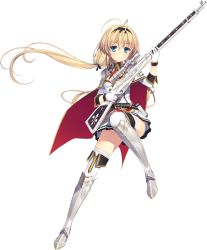 1girl absurdres armor armored_dress blonde_hair blue_eyes boots cape full_body gloves greaves gun hairband highres juukishi_cutie_bullet long_hair low_twintails necktie rifle sara_tefal school_uniform simple_background sniper_rifle solo spaulders thigh_boots thighhighs transparent_background twintails very_long_hair weapon yuuki_hagure zettai_ryouiki