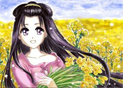 artist_request black_hair female flower kofun_period long_hair original solo