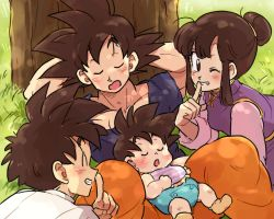 1girl 3boys ;) against_tree baby black_eyes black_hair blue_shirt blush brothers chi-chi_(dragon_ball) chinese_clothes diaper dragon_ball dragonball_z eyebrows_visible_through_hair eyes_closed family father_and_son finger_to_mouth grass grin happy looking_at_viewer mother_and_son multiple_boys one_eye_closed orange_pants shirt short_hair shushing siblings sleeping sleeping_on_person smile son_gohan son_gokuu son_goten spiked_hair tied_hair tkgsize tree white_shirt